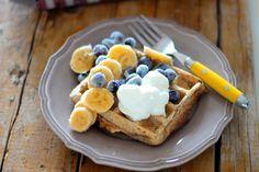 As Minhas Receitas: Waffles de Cereais com Banana e Mirtilos