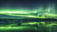 Northern lights jokulsarlon by Mads Peter Iversen on Green Carnation, Aurora Borealis, Iceland, Northern Lights, Sky, Fine Art, Landscape, Night Stars, Water
