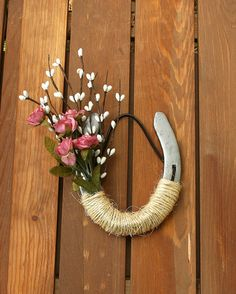 Decorated Pink Roses Horseshoe Wedding Decor Western Decor