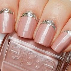 Essie half moon glitter manicure! Don't know the owner! #nails #nailvarnish #prettynails #nailpolish #notd #colourful  #nail #nailart #naildesign #manicure #fashion #fashionnails #brightnails #notmine #nailfashionfix   #glitter #glitternails #sparkly #sparklynails #sparkle - @nailfashionfix- #webstagram