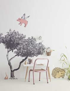 Wall Stickers - Quick & Easy Children's Bedroom Decor | Fueling theirimaginationand encouragingcreativity, this is more than just a wall sticker as you can you can set out a woodland scene with wonderous flying pigs and a friendly hedgehog. #wallstickers #walldecor #nurserydecor #nurseryideas #childrensrooms #childrensbedroom #homedecor #interiors #interiorinspo #interiordesign #nursery