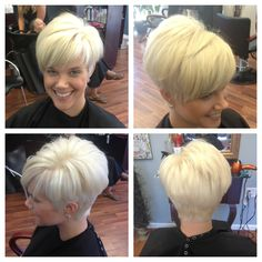 Violet blonde short haircut