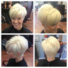 Violet blonde short haircut