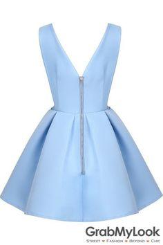 GrabMyLook Sky Blue Backless Midriff Flare V Neck Zipper Dress