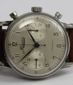 Minerva Stainless Steel Chronograph Wristwatch   From a unique collection of vintage wrist watches at https://www.1stdibs.com/jewelry/watches/wrist-watches/