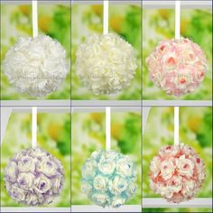 "7""/8""/9"" Wedding Artificial Foam Rose Kissing Ball Flower Pomander Bouquet Ball B21. Quantity: One Kissing Ball. Material: Artificial Foam. Flower Ball Diameter: 7inches(approx 18cm)"