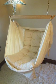 Organic Baby Hammock by Lunalay Baby Hammock, Hammock Swing Chair, Baby Swings, Swinging Chair, Futon Covers, Mattress Covers, Childrens Swings, Room Ideas Bedroom, Wood Bars