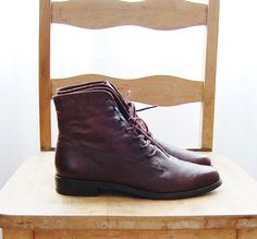 Nine West Dark Brown Leather Lace up Oxford Ankle Boots Size 7 on Etsy, $35.00