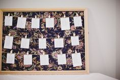 DIY tableplan - old picture frame + fabric, twine and cute clothes pegs! www.jillcherryporterphotography.com