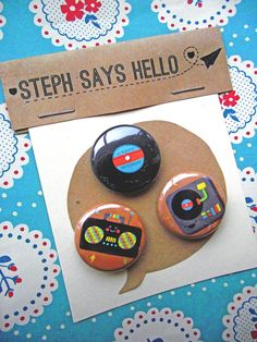 Happy Sounds Pin Badge Set. £3.00, via Etsy.