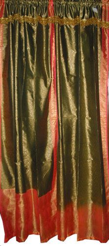 2 India Curtains Candy Apple Red With Emerald Green Silk Sari Panel 965400