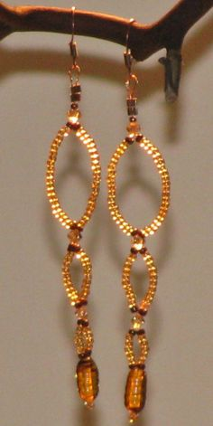 Delicate Balance, Wire and Seed Bead Earrings