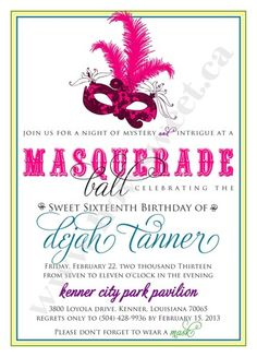 Masqurade Party Invitation   Sweetparties - Childrens on ArtFire