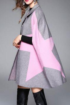 Color Block Knit Cape Coat