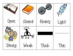 Free!- Picture antonym cards...20 pairs of opposites!