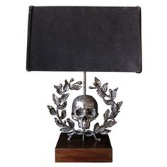 FLAIR exclusive - Skull with laurel wreath large sculpture table lamp cast in solid bronze on a walnut base - handcrafted by George Sellers #lighting