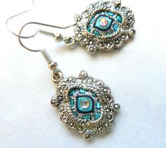 Fabric vintage earrings Jacquard fabric Summer collection Romantic earrings Swarovski crystals Silver metal earrings For refined woman - pinned by pin4etsy.com