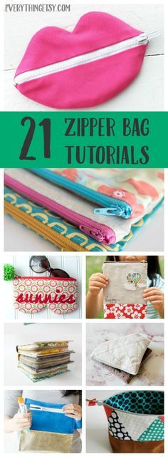 21 Zipper Bag Sewing Tutorials - Cute and Easy Patterns on EverythingEtsy.com