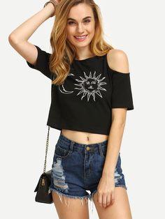 Black Print Cold Shoulder Short Sleeve T-shirt