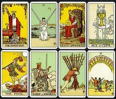 Vintage RIDER WAITE Tarot. (Most Popular) The cards were drawn by illustrator Pamela Colman Smith from the instructions of academic and mystic A. E. Waite, and published by the Rider Company.