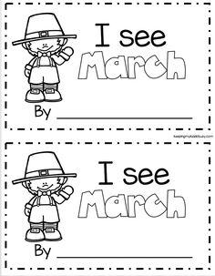 MARCH emergent reader for kindergarten - worksheets - easy literacy center