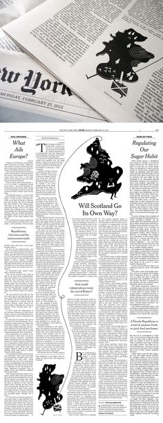New York Times Exciting! My illustration was in Monday's Op Ed pages of the New York Times. Awesome art direction by Matt Dorfman. I wish I could draw Scotland walking across a page with a suitcase every day.