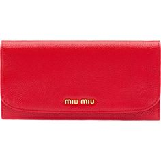 Miu Miu Wallet ($595) ❤ liked on Polyvore featuring bags, wallets, clutches, red, snap closure wallet, real leather wallets, red leather wallet, genuine leather wallet and genuine leather credit card holder wallet