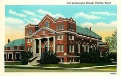 Victoria Texas TX 1927 First Presbyterian Church Antique Vintage Postcard