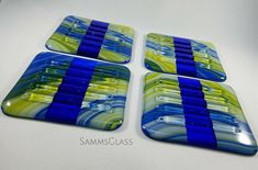 maize-and-blue-coasters-with condensation grooves SammsGlass.etsy.com • fused glass