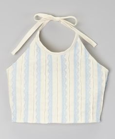 Another great find on #zulily! Ivory & Blue Halter Top - Infant, Toddler & Girls by Little Miss Fashion #zulilyfinds