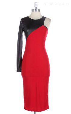 One+Shoulder+Faux+Leather+Detail+Pencil+Dress