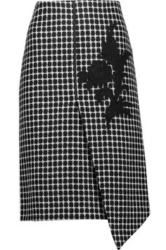 Asymmetric appliquéd checked wool-blend skirt | Raoul | UK | THE OUTNET