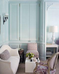 Baby blue living room.