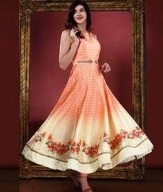 Buy Orange Art Silk Readymade Anarkali Suit 72754 online at lowest price from huge collection of salwar kameez at Indianclothstore.com.
