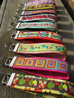 Ribbon Key Fobs diy instructions - uses scraps of fabric over webbing with ribbon!