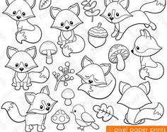 Friendly Fox - Digital stamps - Fox stamps - Line art
