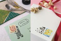 切手のこびとは切手と使えるスタンプ。季節の手紙や招待状、年賀状などを送る際に物語を沿えてくれます。