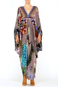 new CAMILLA FRANKS SILK SWAROVSKI BY A LADY PLEAT FRONT TSHAPE KAFTAN DRESS layb