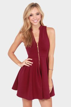 Check it out from Lulus.com! If you're suddenly smitten by the Black Swan Josephine Sleeveless Burgundy Skater Dress then we think it's time you add this beauty to your boudoir! Stretchy thick knit fabric forms a darling fit and flare look, courtesy of a sleeveless darted bodice with mandarin collar, and an exposed gold zipper at front. Modest box pleats along the fitted waist give way to a frolic-y full skirt. Skirt is lined. Model is wearing a size x-small. 76% Polyester, 19% Nylon, 5%…