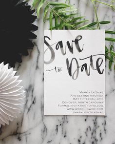 Watercolor Cursive Simple Black and White Wedding Stationery - Save the Date Card. Save the dates || Aisle Perfect