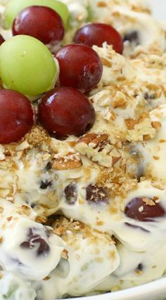 Rich & Creamy Grape Salad ~ t's got a rich, creamy cheesecake-like mixture that goes perfectly with the sweet, crisp grapes... It's decadent but still light enough to qualify as a fruit salad.