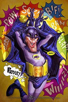El actor Adam West, que interpretó a Batman en la serie de TV de los años 60, caricaturizado por el...