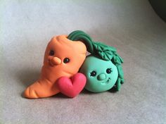 Pea and Carrot   :) Hand sculpted from non-toxic polymer clay. FIMO