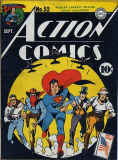 Action Comics #52, september 1942, cover by Fred Ray.
