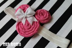 Minnie Mouse  Tee Roses Headband Pink with White Bow by TeeBows, $15.00