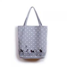 6893fc5f3a EXCELSIOR Women s Cute Cartoon Music Cats Printed Shopping Handbag Ladies  One Shoulder Canvas Bags Female Beach