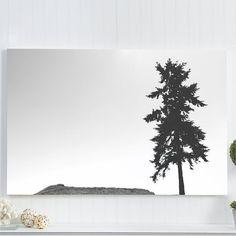 "pine tree canvas gallery wrap / minimal landscape canvas art print / black white large wall canvas art decor / ""black and white slanted fir"""