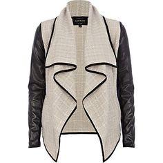 Beige leather look sleeve waterfall jacket - biker jackets - coats / jackets - women