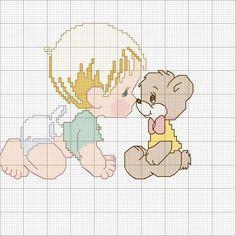 Punto croce disegni - Bimbo con l'orsacchiotto
