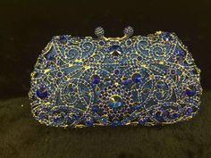 Designer Luxury Bridal Clutch Sparkly Floral Purse Evening Party Bag-5